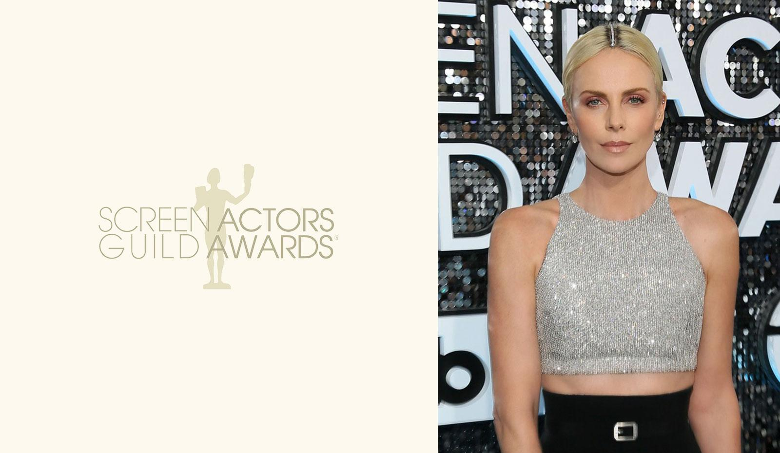 2020 SAG Awards: Charlize Theron's Diamond Encrusted Center Part