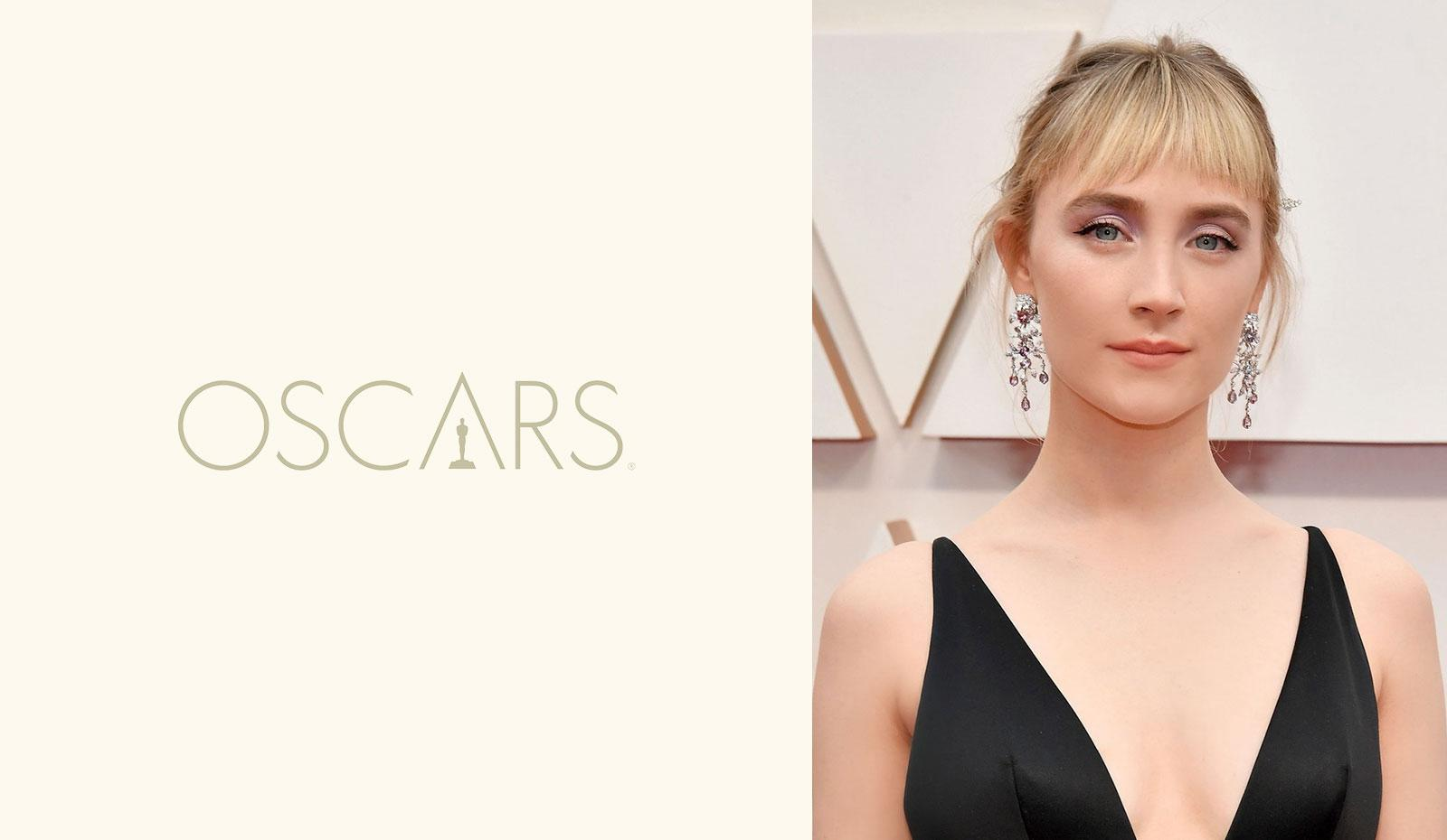 2020 Academy Awards: Saoirse Ronan's Swept-Back Updo With Baby Bangs