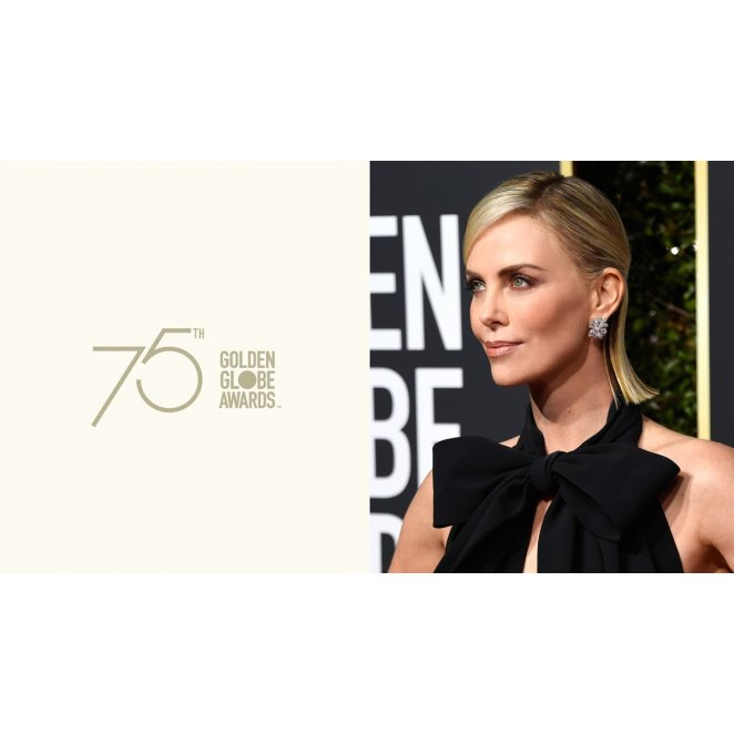2019 Golden Globes: Charlize Theron's 1/2 Up Style