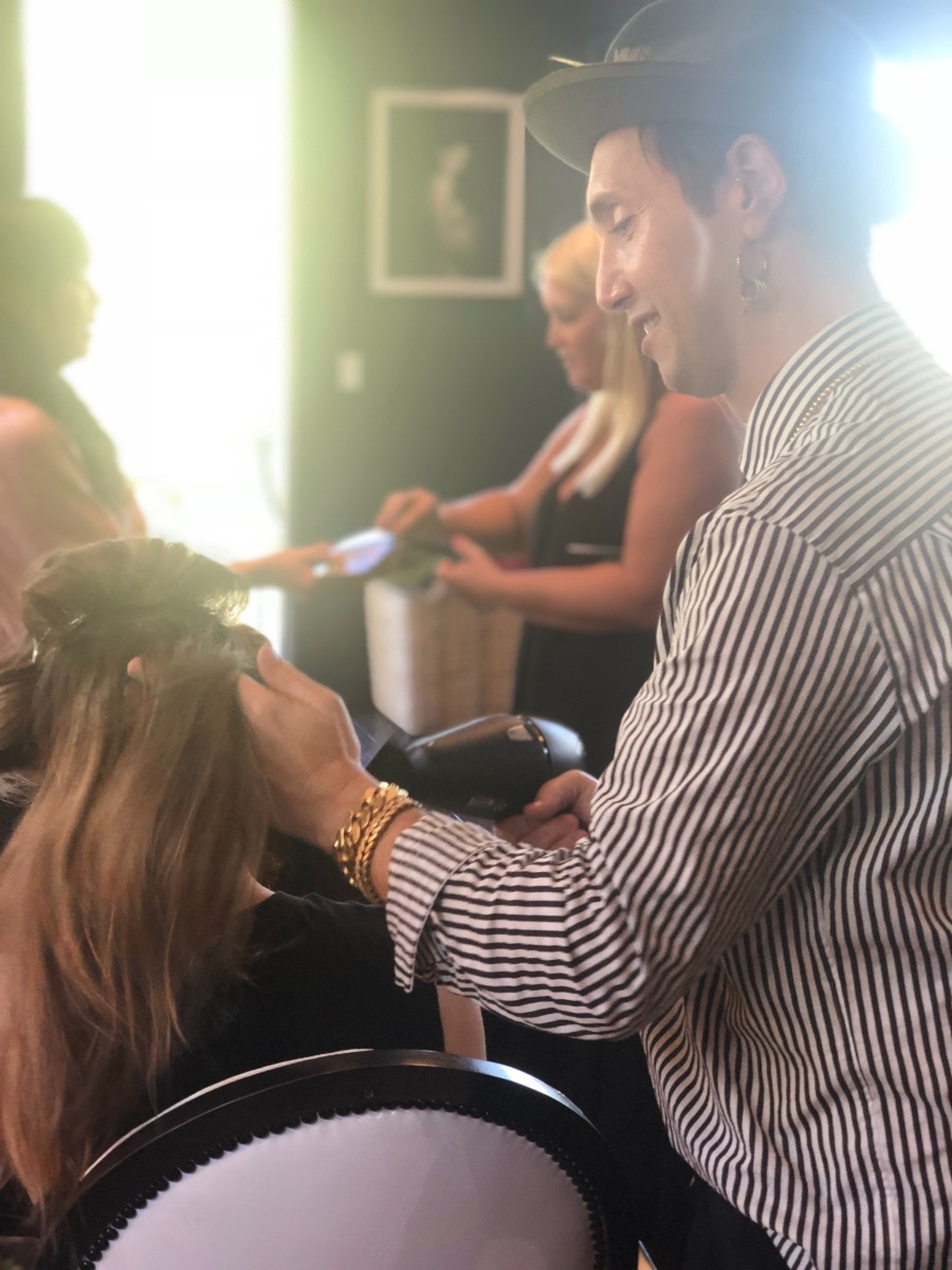 Adir Abergel blowdrys Jessica Biels hair with Virtue