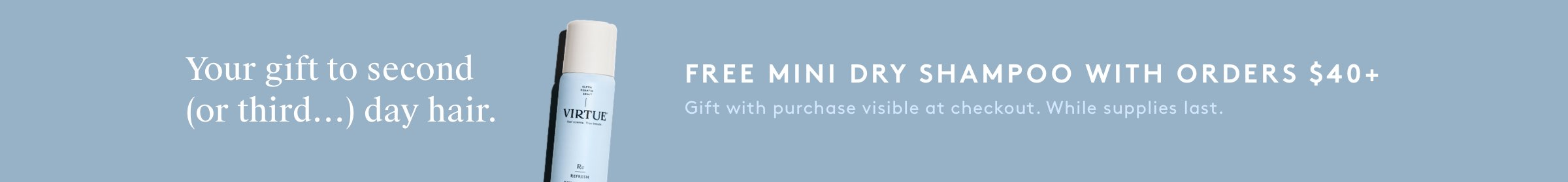 Free Mini Dry Shampoo with orders $40+